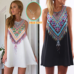 Aztec Tribal Print Sleeveless Shift Dress