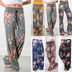 Floral Pattern Wide Leg Lounge Pants in 6 Styles
