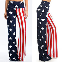 High Waist  National Flag Wide Leg Pants