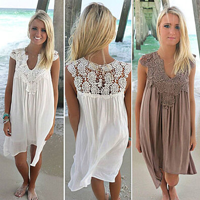 6d3569769d Lace and Chiffon Patchwork Loose Casual Dress · GiftStores ·  69.99 · Summer  Beach Dresses For Women Tank Top Bikini Swimwear Cover Up Plain Pleated  Loose