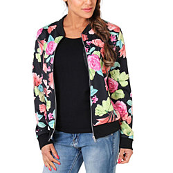 Lightweight Zip-Up Floral Print Bomber Jacket