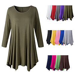 Long or Short Sleeve Swing Tunic Top Shirt