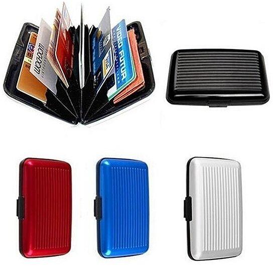Business Waterproof ID Credit Card Wallet Holder PU Aluminum Pocket Case Box
