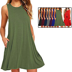 Women's Sleeveless Pockets Casual Swing T-Shirt Dress
