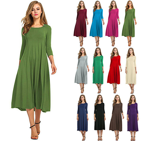 3/4 Sleeve Dress Swing Dress in Multiple Colors (S-3X)