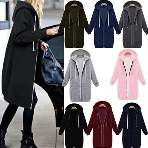 Zip Up Hoodie Solid Long Jacket Sweatshirt Outerwear Plus Size