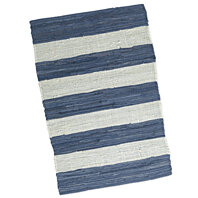 "BLUE & WHITE STRIPE CHINDI RUG. 20"" x 31.5"". Heavy Duty Cotton. Reversible."