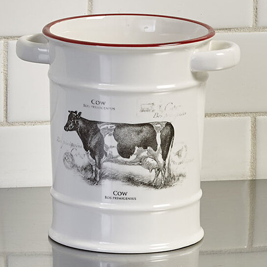 Buy Farmhouse Kitchen Decor Cow Utensil Crock Holder Or