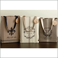 French Grain Sack Print Totes.  Set of 3.  Or Buy 1.