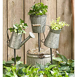 Galvanized Metal Planter on a Stake. 3 Styles. Pail, Pitcher or Watering Can
