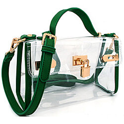 Green Transparent Satchel with Long Strap. PVC Plastic