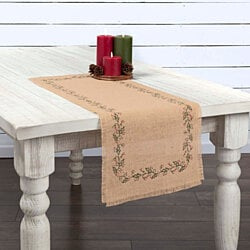 Holiday Table Runner. Ivy & Berries . Jute Burlap.. 3 Sizes. Limited Quantity