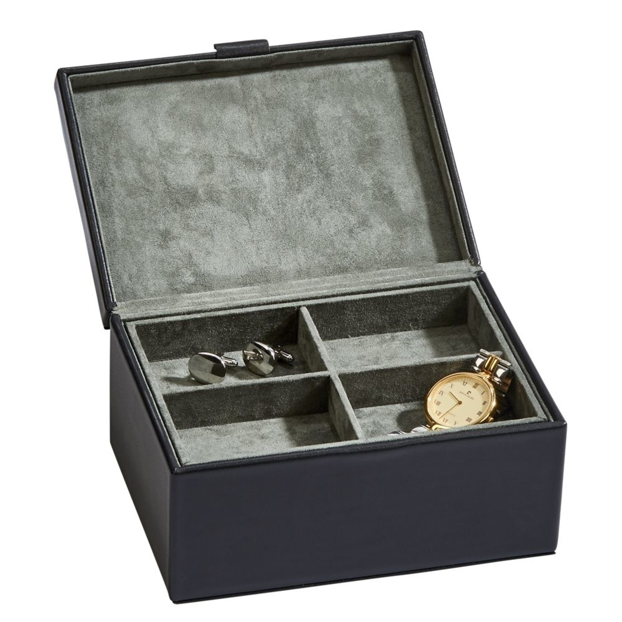 Personalized Top Grain Black Leather Box With 4 Section Lift Out Tray. With Gift Box