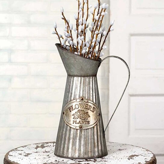 Buy Tall Pitcher Vase With Handle Flowers And Plants Metal Tag By