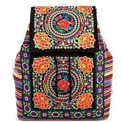 Trendy Bohemian Floral Backpack. Embroidered Colorful Backpack