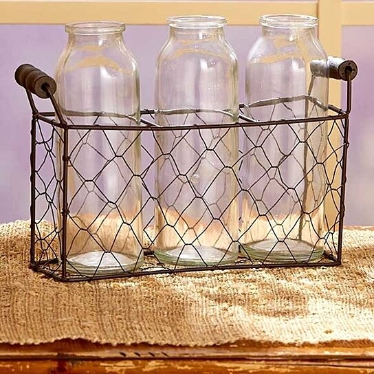 Buy Vintage Country Bottle Vases Wwire Basket Three Vases By Gift