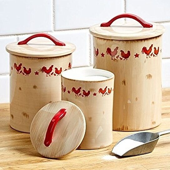Vintage Rooster Country Style Kitchen Canisters. Stoneware Canisters Set of  3