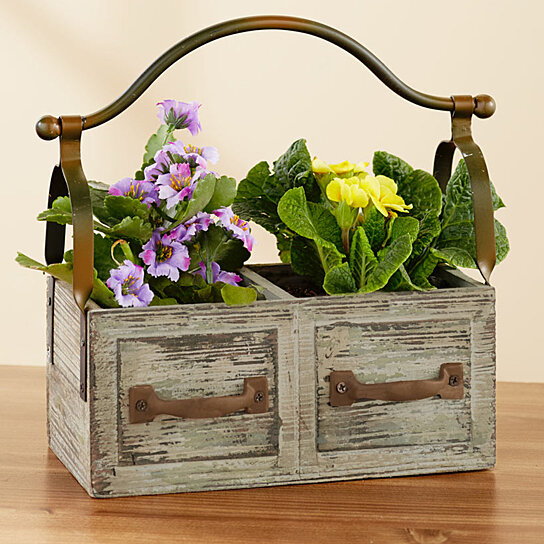 Vintage Wooden Planter Box Wiron Handle Save Now On 2 Brown