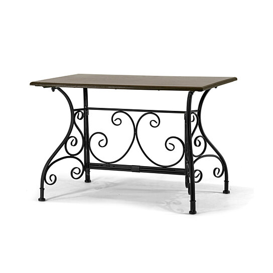 buy dark brown wooden table black metal frame apartment size coffee table with floral leg design. Black Bedroom Furniture Sets. Home Design Ideas