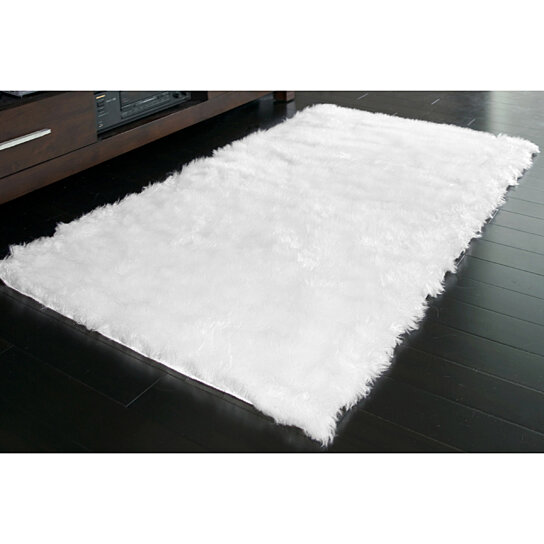 Buy Faux Sheepskin Faux Fur Area Rug Rectangular White Or