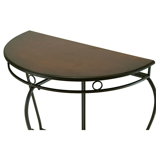 Buy Half Moon Half Round Black Wooden Top Metal Frame