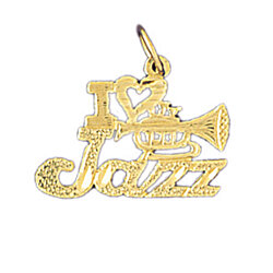 14K GOLD SAYING CHARM - I LOVE JAZZ #10813