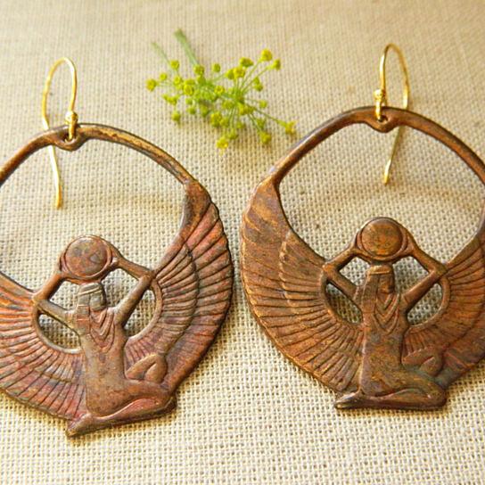 Exercise Bike Egypt: Buy Vintage Egyptian Isis Hoop Earrings, Goddess Earrings