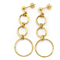 14K Yellow Gold Shiny 3 Circle Fashion Drop Earring