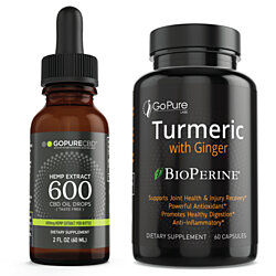 2 PK Go Pure CBD 600 + Turmeric with Ginger