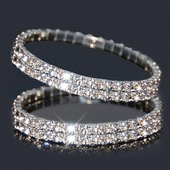 Buy 2 Piece Swarovski Elements Double Row Crystal Stretch Tennis Bracelet  by Grabtrue on OpenSky 71f30d3788af