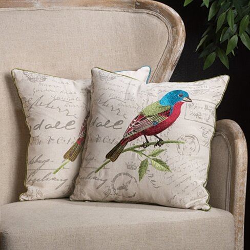 "18"" Embroidered Bird Pillows (Set of 2)"