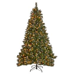 4.5-foot Mixed Spruce Pre-Lit or Unlit Artificial Christmas Tree with Glitter Branches, Red Berries and Pinecones