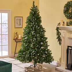 7.5-foot Mixed Spruce Pre-Lit or Unlit Hinged Artificial Christmas Tree with Frosted Branches, Red Berries and Frosted Pinecones