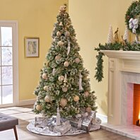 Buy 7 Foot Mixed Spruce Pre Lit Or Unlit Hinged Artificial Christmas Tree With Snow And Glitter Branches With Frosted Pinecones By Gdfstudio On Dot Bo