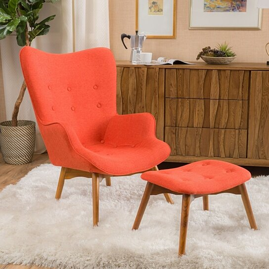 Charmant Buy Acantha Fabric Contour Chair W/ Footstool Set By GDFStudio On Dot U0026 Bo