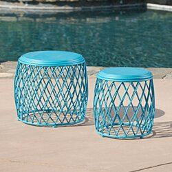 Alameda Nestable Outdoor 15 Inch and 19 Inch Lattice Matte Blue Iron Side Table Set