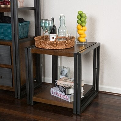 Alarand Contemporary Dark Oak Ash Veener Side Table