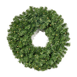 Alia Christmas Wreath  24-inch  Noble Fir  Battery-Operated, Includes Timer  Warm White LED Christmas Lights
