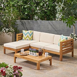 Alice Outdoor 5 Piece Acacia Wood Sofa Set