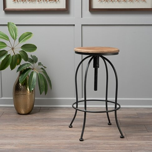 Allie Black Natural Fir Wood & Iron Height Adjustable Bar Stool