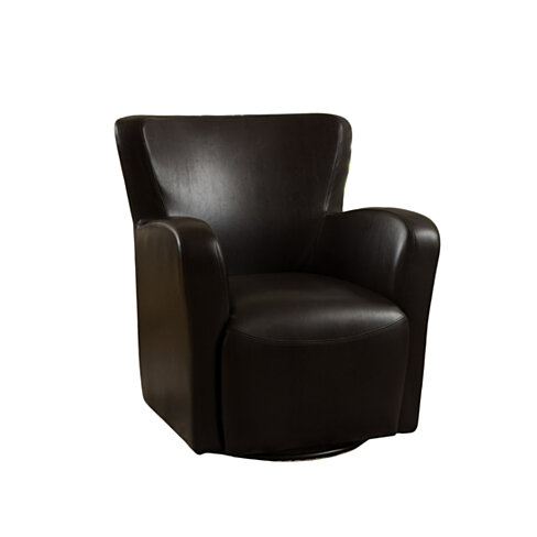 Almendro Black Bonded Leather Wingback Swivel Club Chair