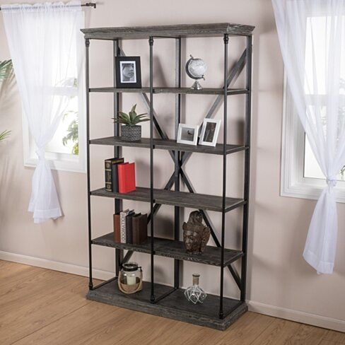 Attrayant Alondra 5 Shelf Industrial Dark Tan Grey Wood Bookshelf