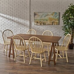 Amy Farmhouse Cottage 7 Piece Natural Walnut Faux Wood Dining Set