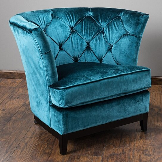 Buy Anabella Teal Blue Velvet Tufted Sofa Chair By GDFStudio On Dot U0026 Bo