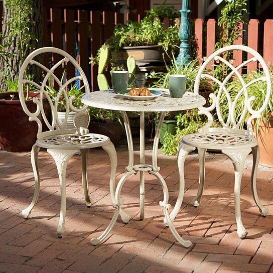 Buy andover outdoor 3pc cast aluminum bistro set by for Best deals on patio furniture sets