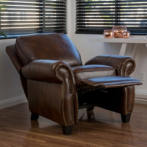 Andre Light Brown Leather Recliner Club Chair