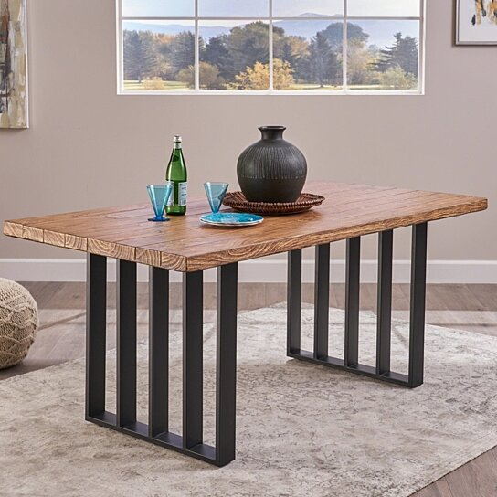 Buy Angelina Indoor Farmhouse Oak Finish Light Weight Concrete Dining Table By Gdfstudio On Dot Bo