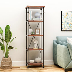 Annabelle Industrial 4 Shelf Firwood Bookcase