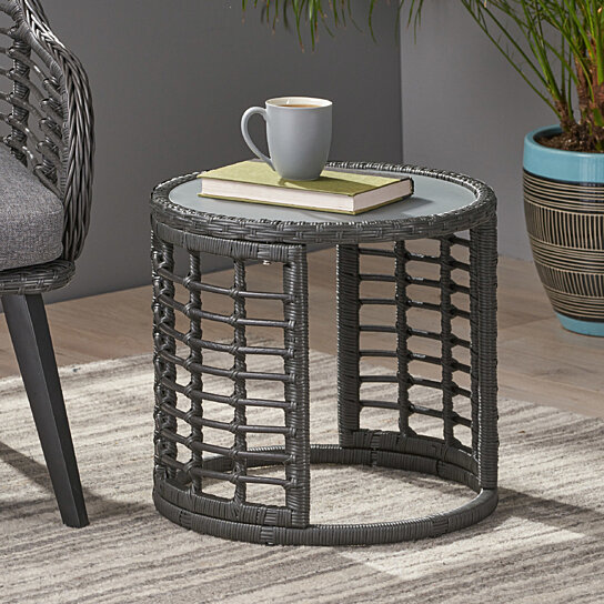 size 40 ae5fe cddfd Anne Indoor Modern Boho Wicker Side Table with Tempered Glass Top