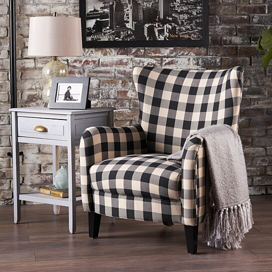 Buy Arador Black White Plaid Fabric Club Chair By Gdfstudio On Dot